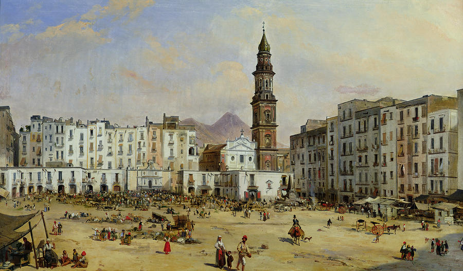 Piazza Mazaniello In Naples Painting  - Piazza Mazaniello In Naples Fine Art Print