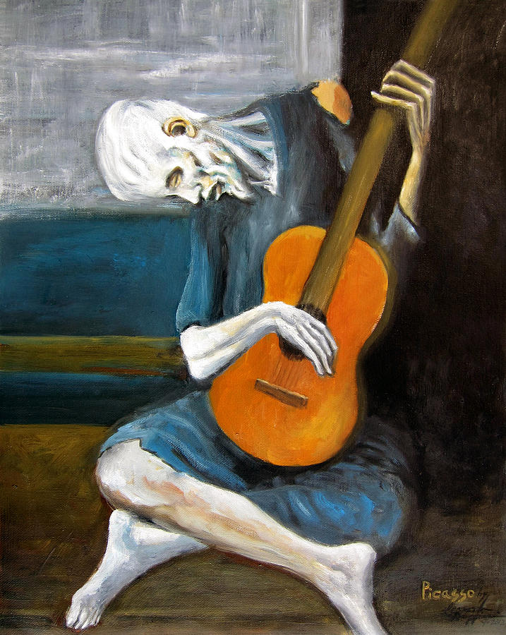 the old guitarist pablo picasso 80% off art gallery prices + free shipping on the old guitarist by pablo  picasso oil painting art gallery museum quality home decor hand-made oil.