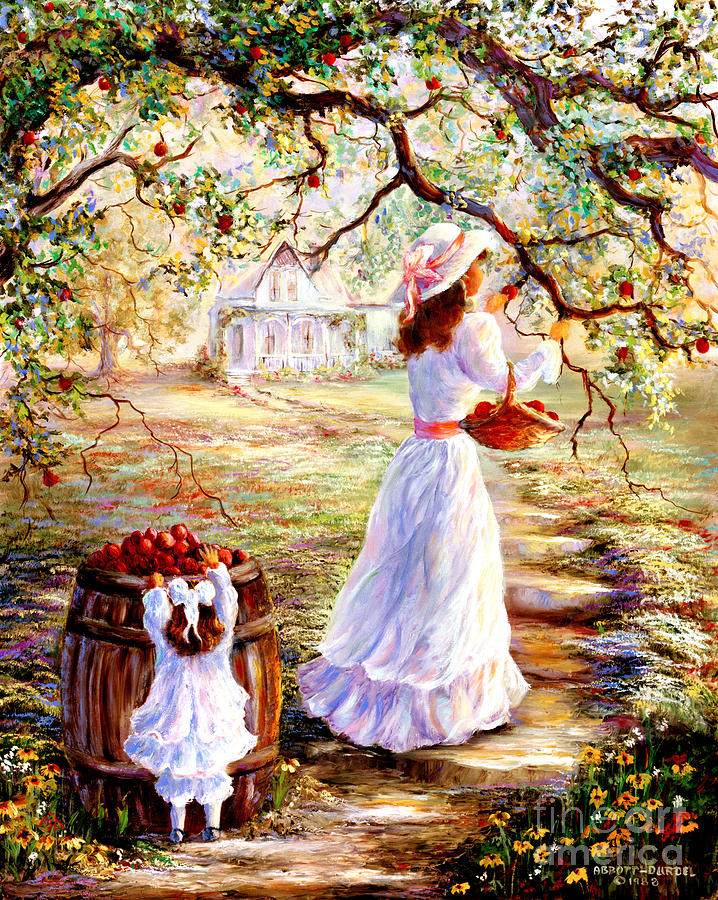 Picking Apples Painting  - Picking Apples Fine Art Print