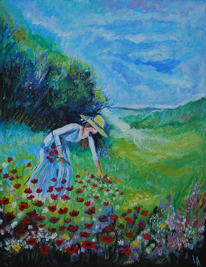 Picking Flowers Painting  - Picking Flowers Fine Art Print