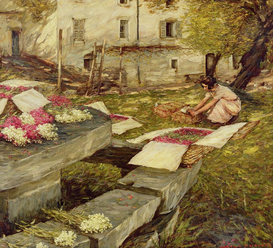 Basket; Bunches Flowers Nursery Painting - Picking Stocks by Henry Herbert La Thangue