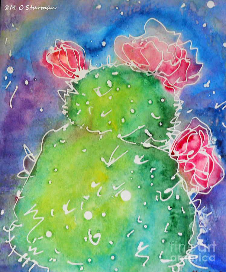 Pickly Pear Night Mixed Media  - Pickly Pear Night Fine Art Print