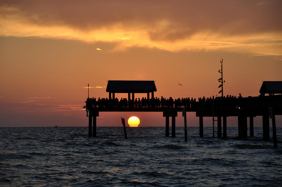 Pier 60 Clearwater Beach - Watching The Sunset Photograph  - Pier 60 Clearwater Beach - Watching The Sunset Fine Art Print