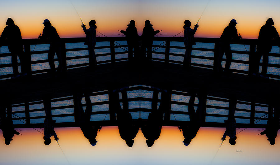 Pier Fishing At Dawn Digital Art