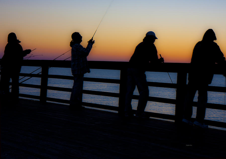 Pier Fishing At Dawn II Photograph  - Pier Fishing At Dawn II Fine Art Print