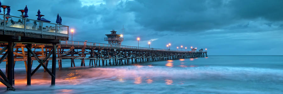 Pier In Blue Panorama Photograph