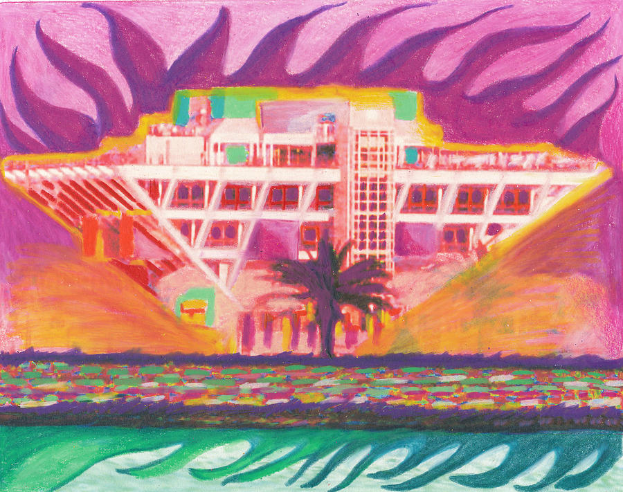 Pier In The Pink Drawing  - Pier In The Pink Fine Art Print