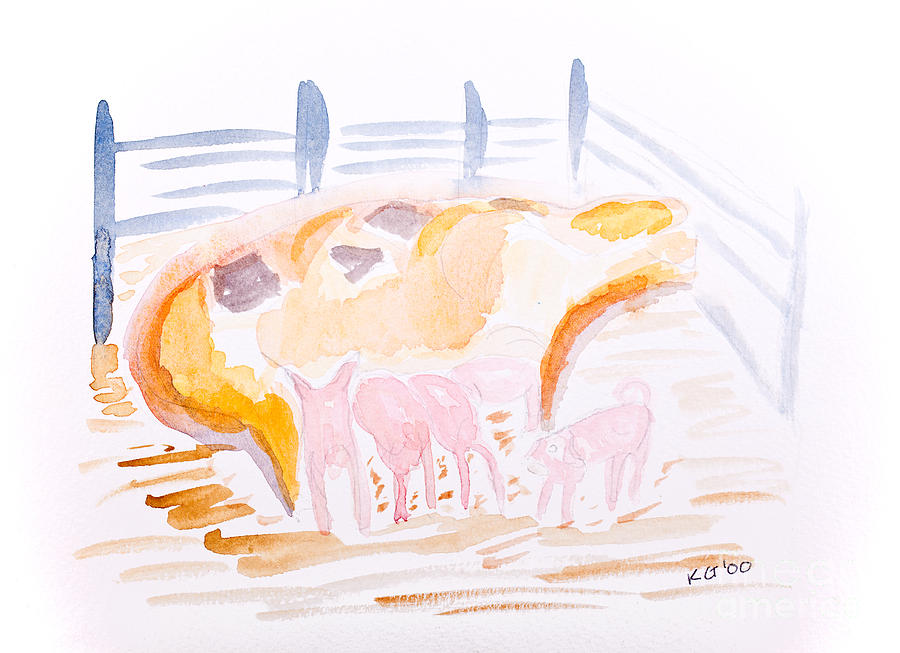 Pig With Piglets  Painting