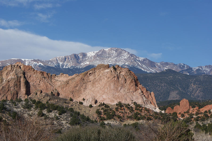 Pikes Peak Behind Garden Of The Gods Photograph  - Pikes Peak Behind Garden Of The Gods Fine Art Print