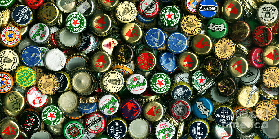 Pile Of Beer Bottle Caps . 2 To 1 Proportion Photograph