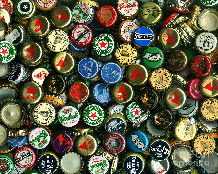 Pile Of Beer Bottle Caps . 8 To 10 Proportion Photograph