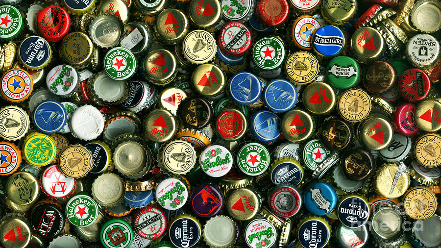Long Photograph - Pile Of Beer Bottle Caps . 9 To 16 Proportion by Wingsdomain Art and Photography