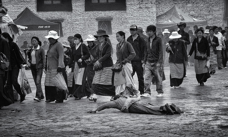Travel Photograph - Pilgrim Prostration by Joan Carroll