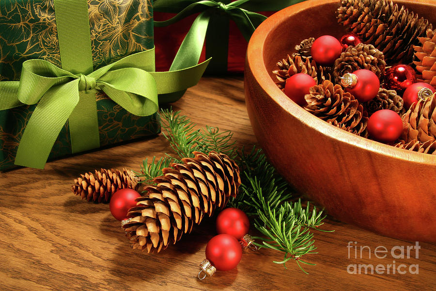 Pine Cones And Christmas Balls  Photograph  - Pine Cones And Christmas Balls  Fine Art Print