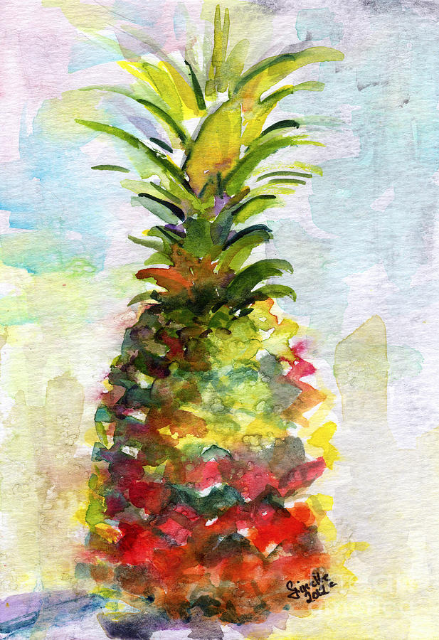 Pineapple Study Watercolor Painting  - Pineapple Study Watercolor Fine Art Print