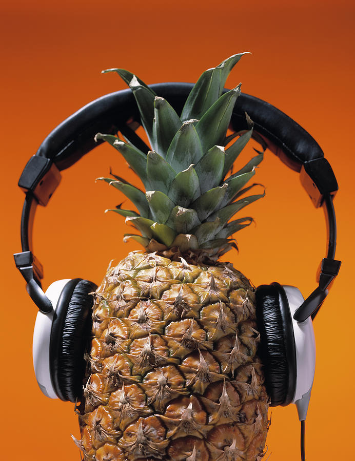 Pineapple Wearing Headphones Photograph