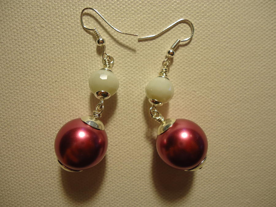 Pink And White Ball Drop Earrings Photograph