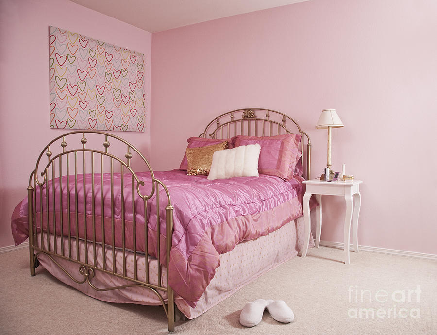 Pink Bedroom Interior Photograph  - Pink Bedroom Interior Fine Art Print