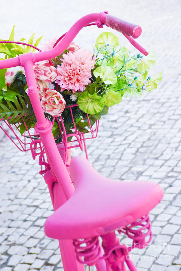 Angle Photograph - Pink Bicycle by Carlos Caetano