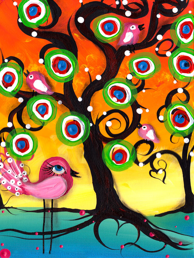 Pink Birds On A Tree Painting