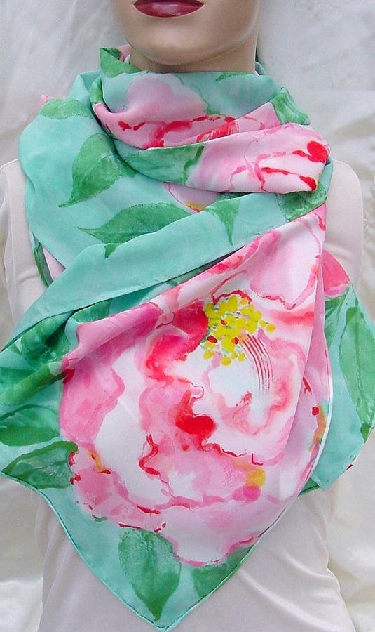 Pink Camelia Silk Crepe Scarf Tapestry - Textile