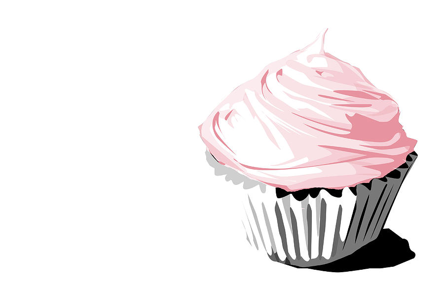 Pink Cupcake Drawing by Jay Reed