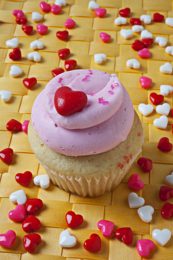 Pink Cupcake With Candy Hearts Photograph  - Pink Cupcake With Candy Hearts Fine Art Print