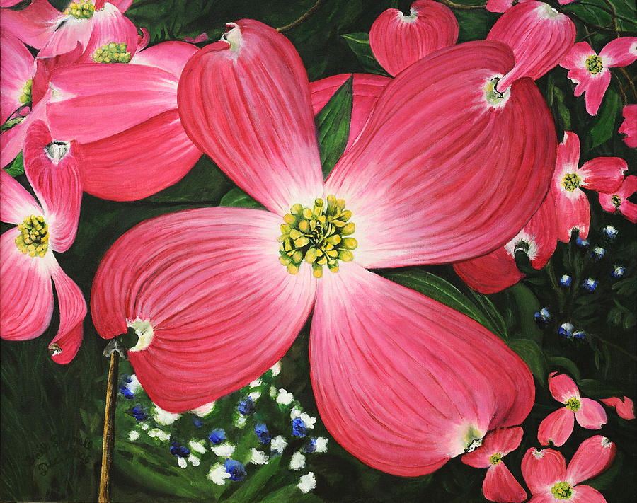 pink dogwood painting by gail darnell
