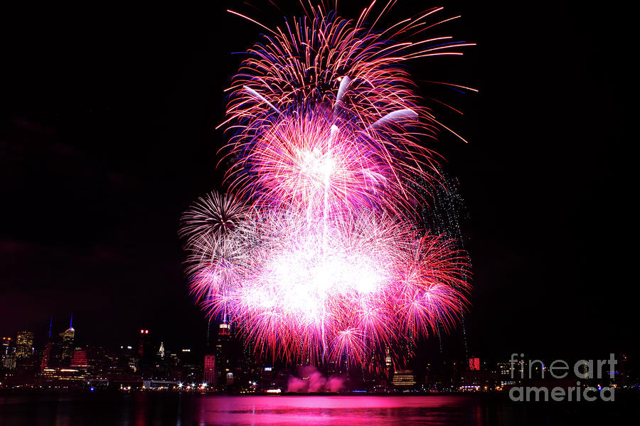 Pink Fireworks At Nyc Photograph
