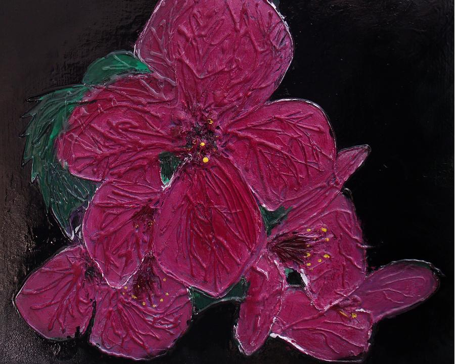 Pink Flowers Mixed Media