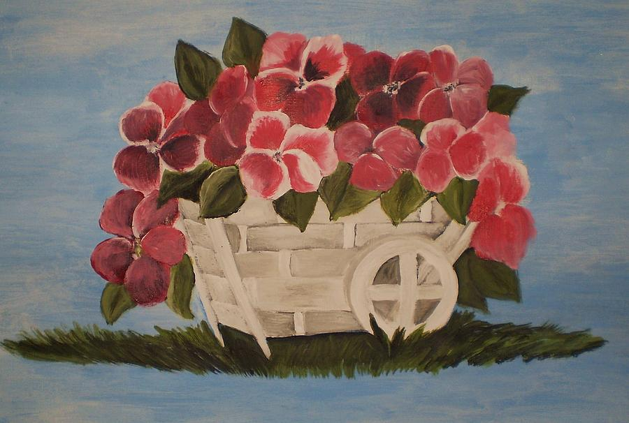 Pink Flowers In A Wagon Basket Painting