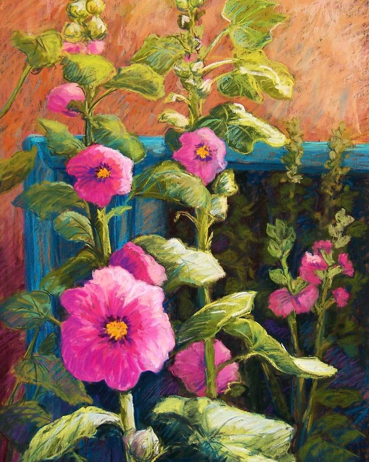Pink Hollyhocks Pastel