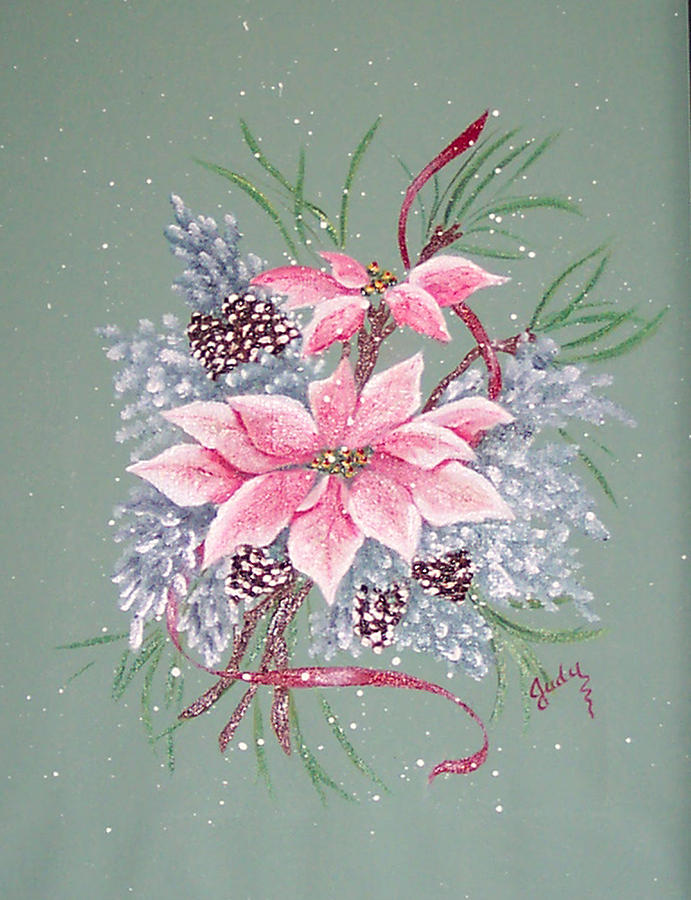 Pink poinsettia with pine cones by judy moses for How to paint pine cones for christmas
