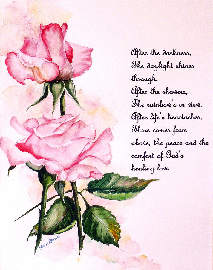 Pink Rose Poem Painting By Karin Dawn Kelshall Best