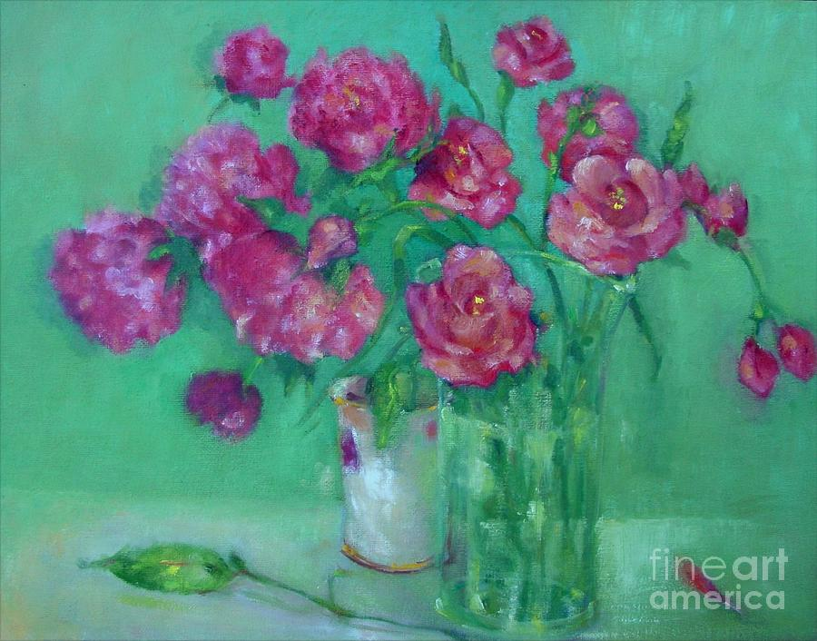 Pink Roses And Peonies         Copyrighted Painting  - Pink Roses And Peonies         Copyrighted Fine Art Print
