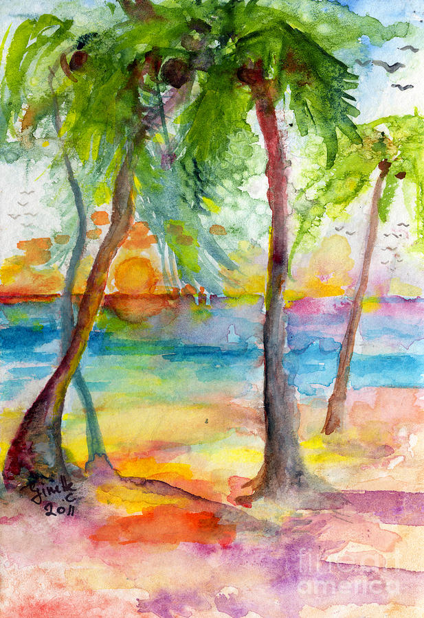 Pink Sands And Palms Island Dreams Watercolor Painting  - Pink Sands And Palms Island Dreams Watercolor Fine Art Print