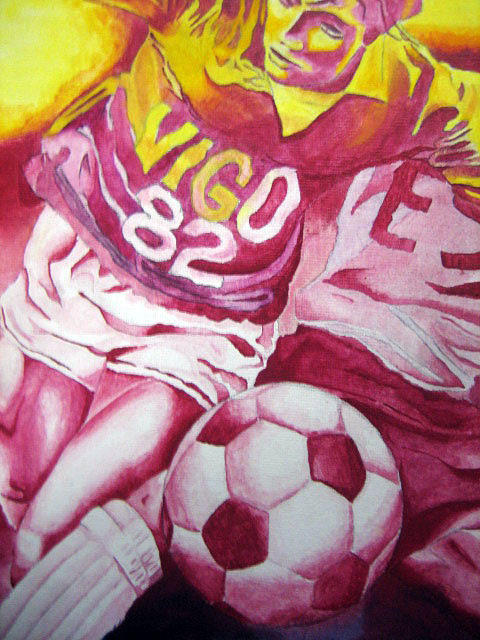 Pink Soccer Painting