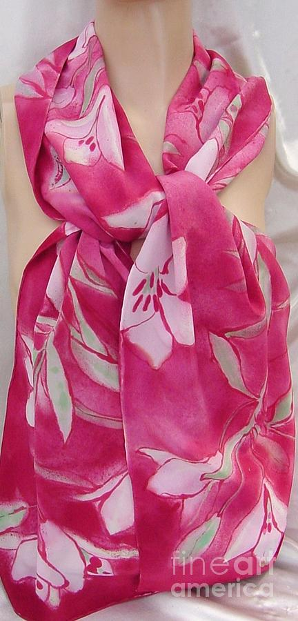 Pink Stargaze Lily Silk Crepe Scarf Tapestry - Textile