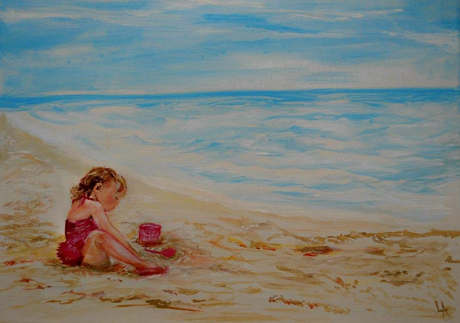Pink Too Too Beach Fun Painting  - Pink Too Too Beach Fun Fine Art Print