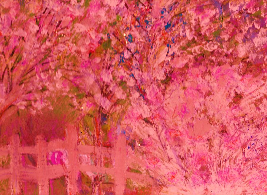 Pink Tree And Fence Painting  - Pink Tree And Fence Fine Art Print
