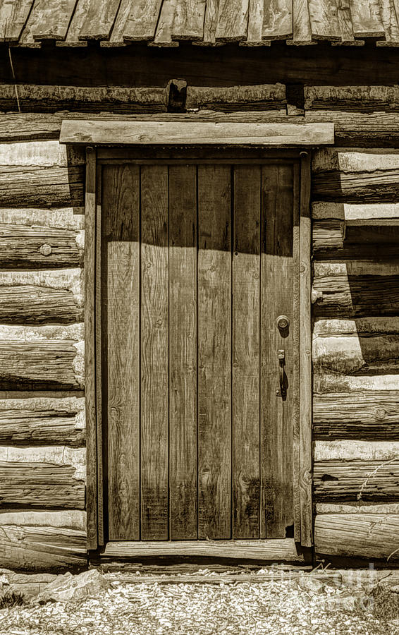 Pioneer log cabin door close up photograph by gary whitton for Log house doors