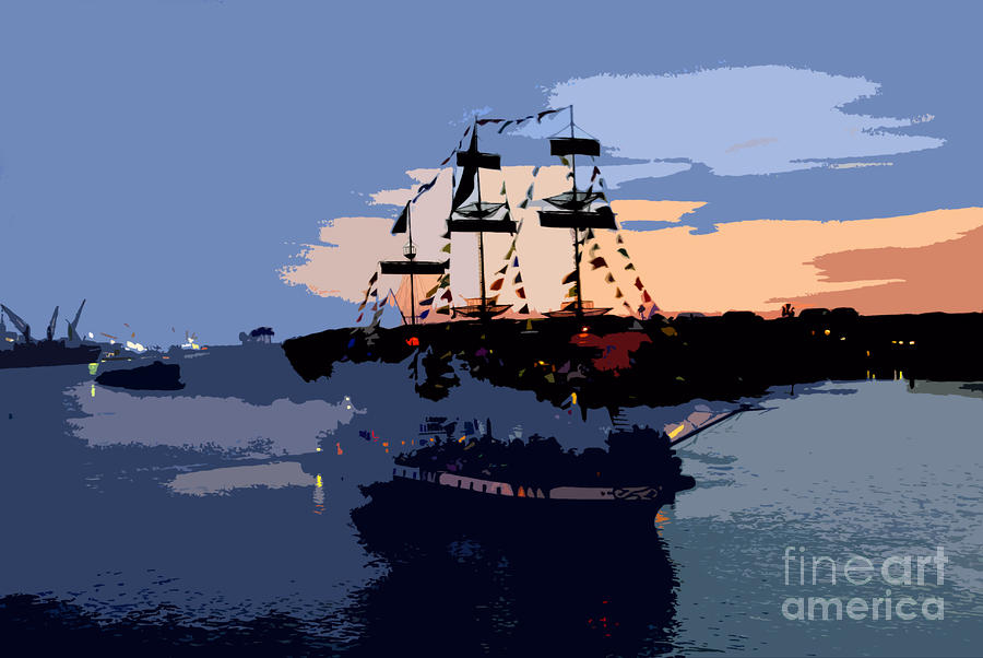 Pirate Ship In The Bay Painting