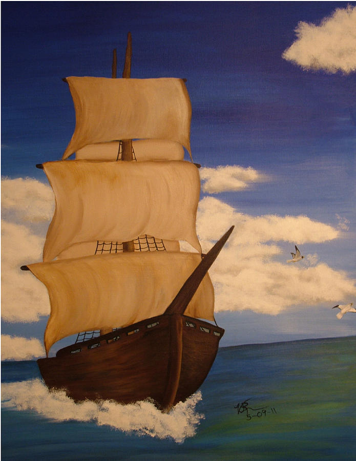 Pirate Ship With Gulls Painting  - Pirate Ship With Gulls Fine Art Print