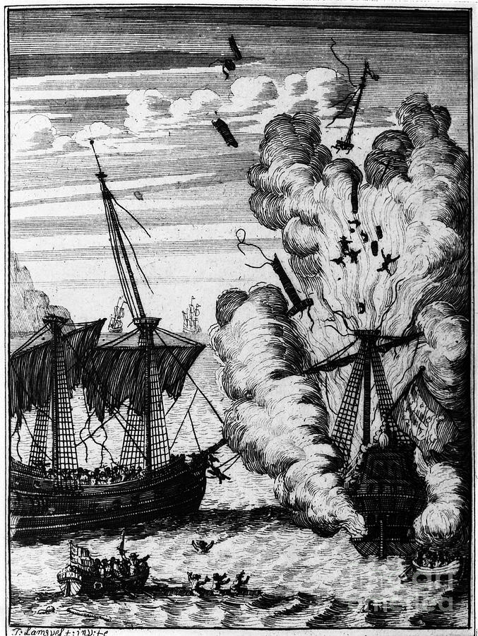 17th Century Photograph - Pirate Ships by Granger