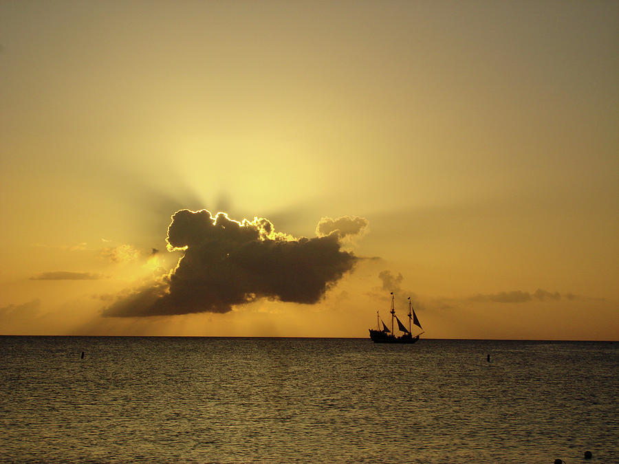 Pirate Sunset In Cayman Island Photograph  - Pirate Sunset In Cayman Island Fine Art Print