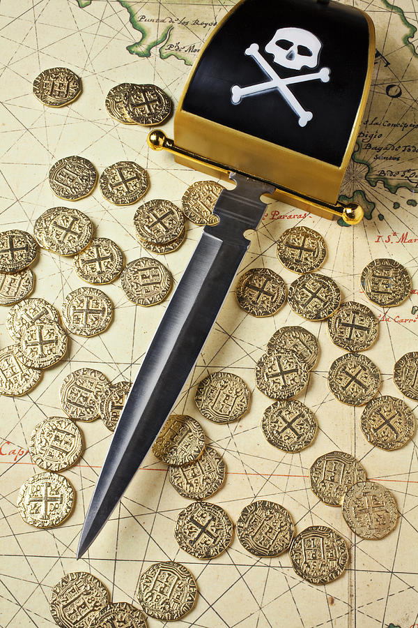 Pirate Sword And Gold Coins On Old May Photograph  - Pirate Sword And Gold Coins On Old May Fine Art Print