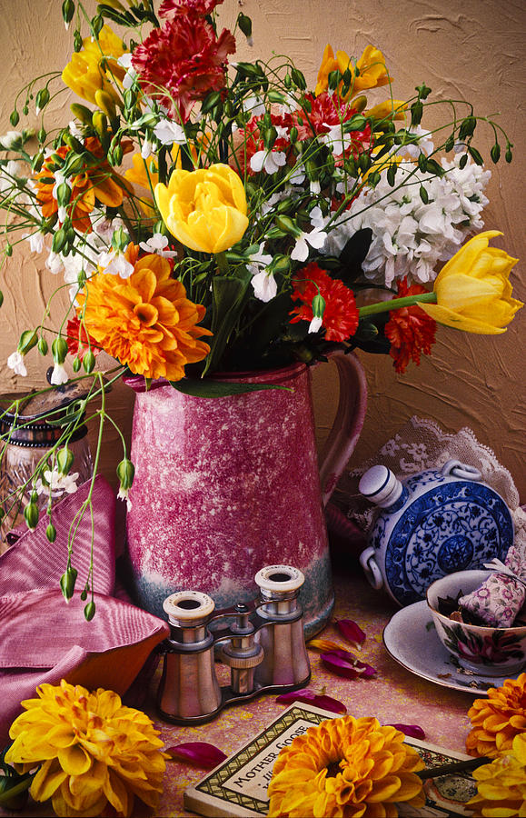 Pitcher Of Flowers Still Life Photograph  - Pitcher Of Flowers Still Life Fine Art Print
