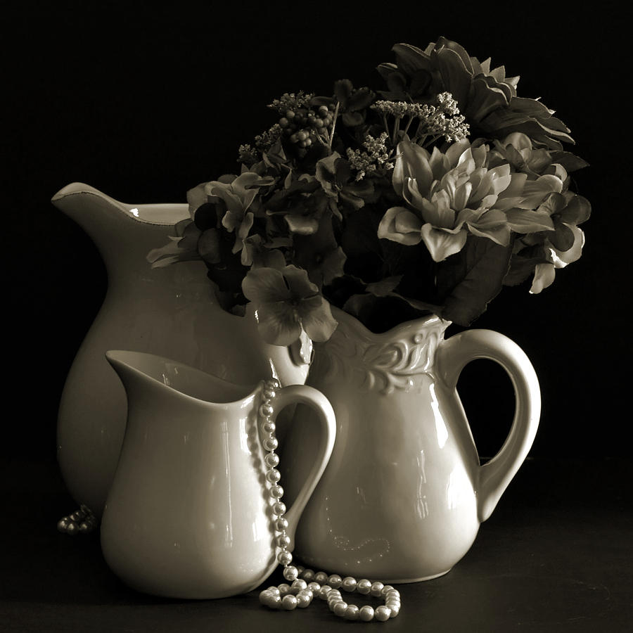 Pitchers And Flowers By The Window Photograph
