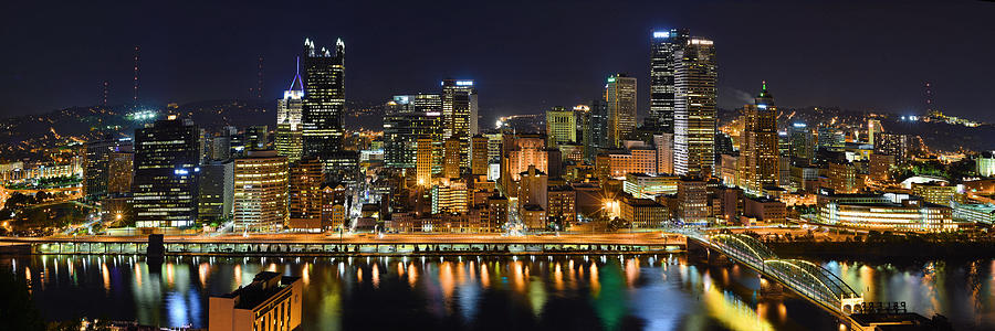 Pittsburgh Pennsylvania Skyline At Night Panorama Photograph