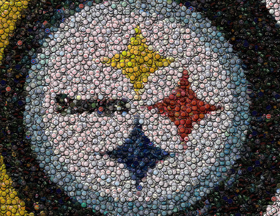 Pittsburgh Steelers  Bottle Cap Mosaic Digital Art  - Pittsburgh Steelers  Bottle Cap Mosaic Fine Art Print